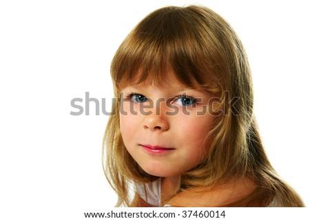 happy little girl; closeup portrait - stock photo