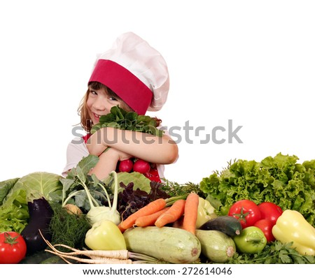 happy little girl cook with vegetables - stock photo