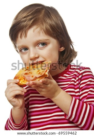 happy little girl eating pizza