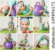 happy little girl engaged in fitness at home - stock photo