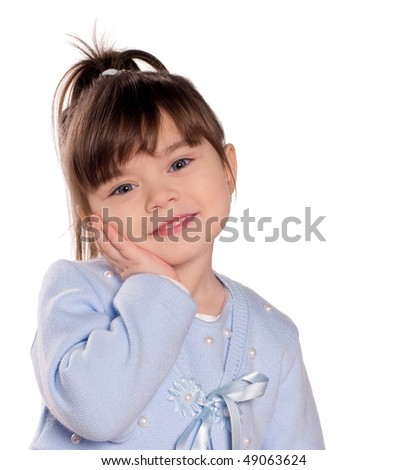 Happy little girl. Funny child isolated on white background. Beautiful caucasian model. - stock photo