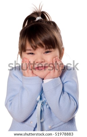 Happy little girl. Funny child isolated on white background. Beautiful caucasian model.