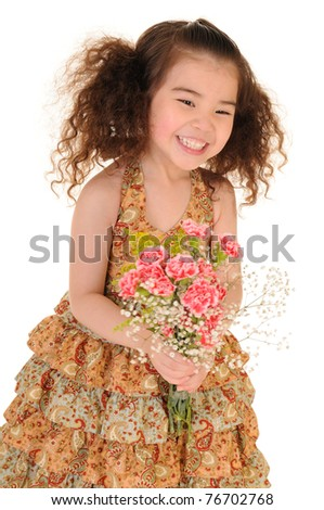 Happy little girl holding a bouquet of carnations. Isolated on white background - stock photo