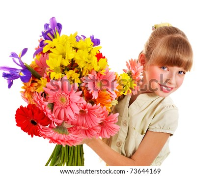 Happy little girl holding bunch of flowers.
