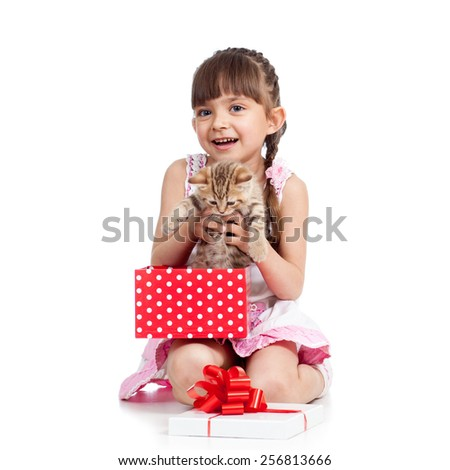 happy little girl holding gift box with kitten isolated - stock photo