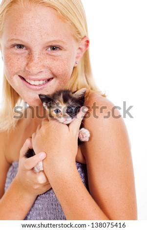 happy little girl holding kitten isolated on white - stock photo