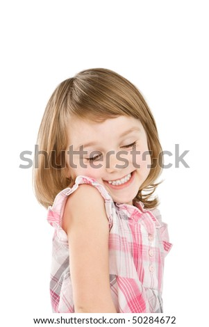 Happy little girl  isolated on white. - stock photo