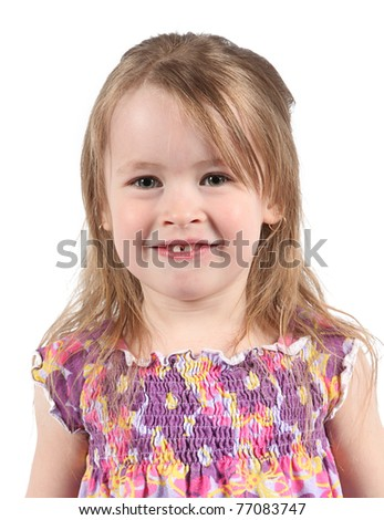 Happy Little girl isolated on white