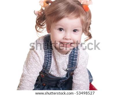 Happy little girl isolated on white background - stock photo