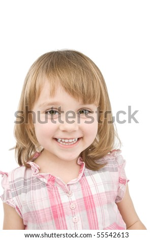 Happy little girl on white. - stock photo