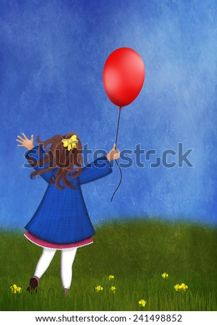Happy little girl playing with balloon on a spring meadow - stock photo