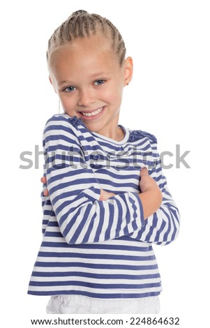 Happy little girl six years old in a suit sailor boy - stock photo