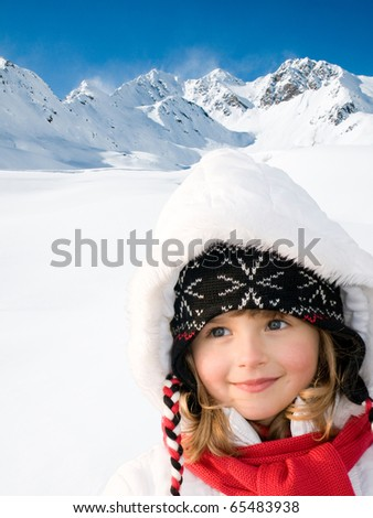 Happy little girl winter vacation