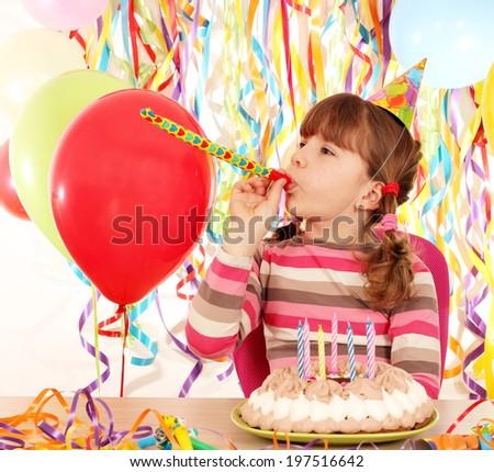 happy little girl with birthday cake - stock photo