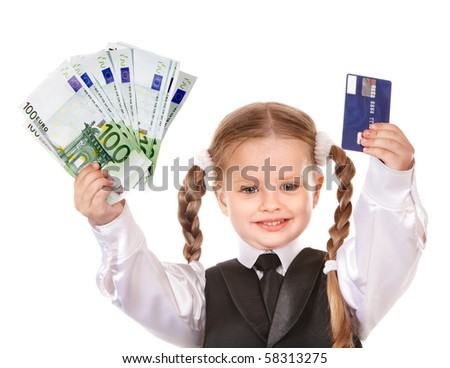 Happy little girl with money and credit card. Isolated. - stock photo