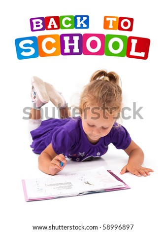 Happy little girl with notebook, back to school concept, isolated over white