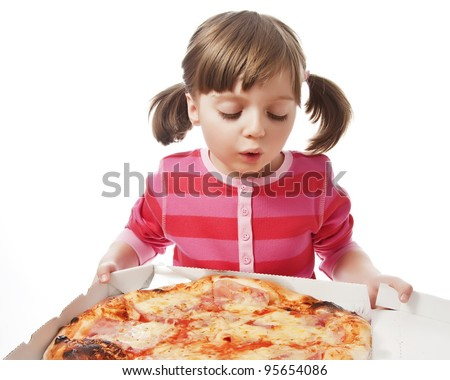 happy little girl with pizza in a paper box - white background - stock photo