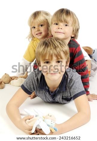 Happy little kids on white - stock photo