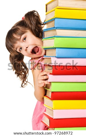 Happy little schoolgirl with a stack of books. Isolated over white - stock photo