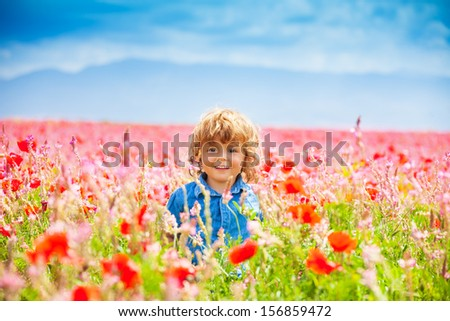Happy little smiling boy standing and smiling in poppy field  - stock photo