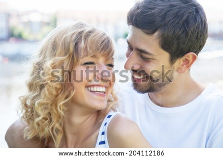 Happy love couple outside