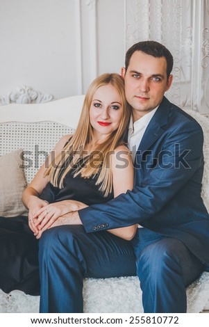 Happy Loving couple in the studio Christmas - stock photo