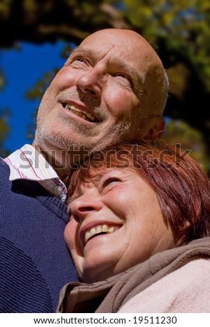 happy loving elderly couple - stock photo