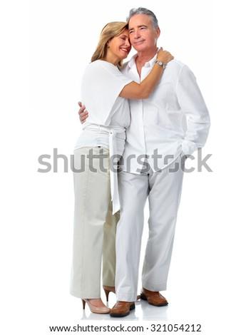 Happy loving elderly couple isolated white background. - stock photo