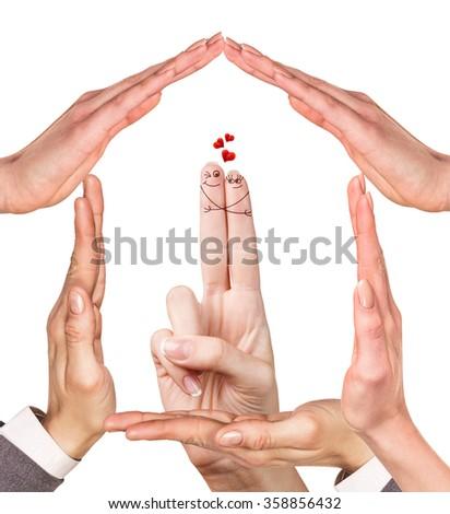 Happy loving fingers hugging - stock photo