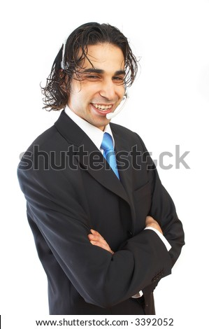 happy male call center operator on white background - stock photo