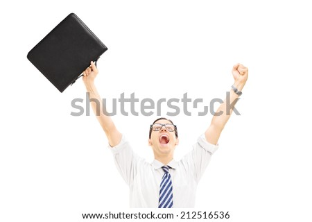 Happy male holding a suitcase and gesturing happiness with raised hands isolated on white background - stock photo