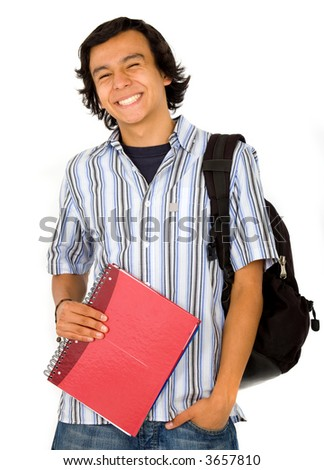 happy male student portrait over a white background