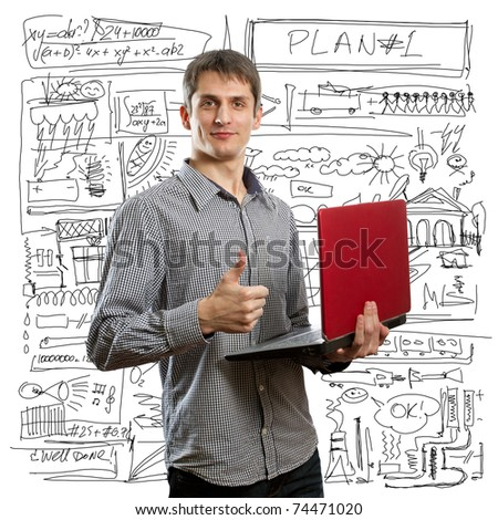 happy male with laptop in his hands shows well done - stock photo