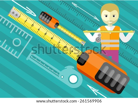 Happy male worker showing folding ruler roulette. Tools series. Flat icon modern design style concept. Raster version - stock photo