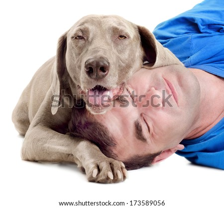 Happy man and  dog isolated on a white background - stock photo