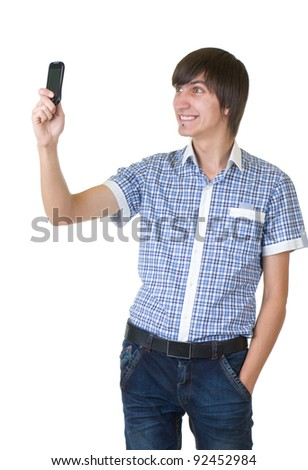 Happy man answering the phone against a white background