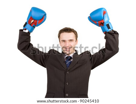 Happy man, businessman, elegance model , hands up with blue gloves in expression success gesture, business or political winner, office boxing, competition, studio shot, isolated on white background - stock photo