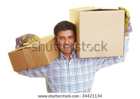 Happy man carrying to boxes on his shoulders - stock photo