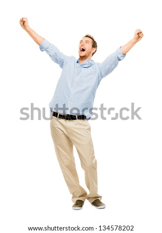 happy man celebrating arms up success background