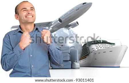 Happy man celebrating his departure on a world tour - stock photo