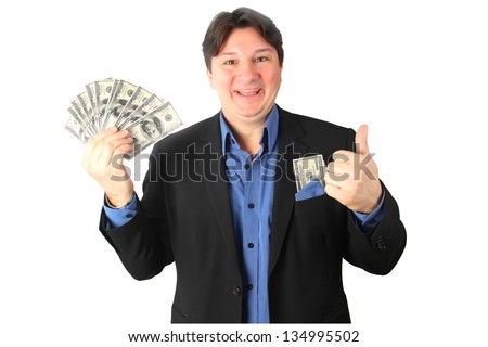 Happy man holding a lot of money - stock photo