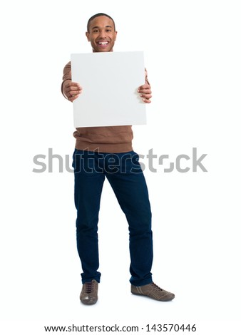 Happy Man Holding Blank Placard Over White Background - stock photo