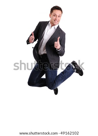 Happy man in air with thumbs up