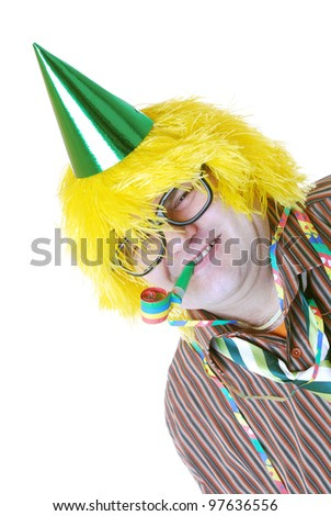 happy man in party costume - stock photo