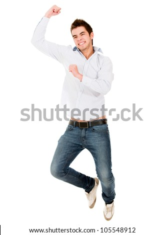 Happy man jumping from excitement - isolated over a white background - stock photo