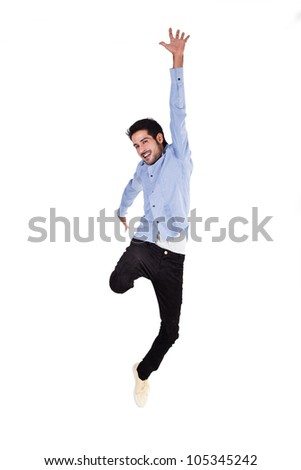 happy man jumping in the air with joy - stock photo