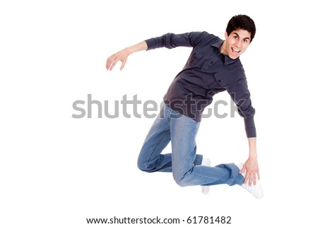 Happy man jumping over white background - stock photo
