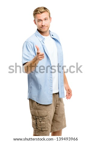 Happy man pointing - portrait on white background