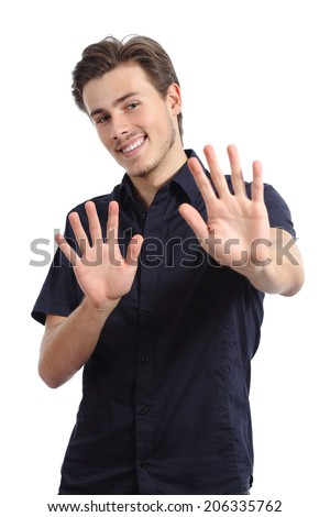 Happy man rejecting and gesturing stop with hands isolated on a white background - stock photo