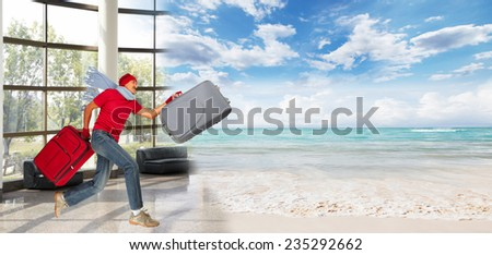Happy man running with suitcase. Vacation. - stock photo